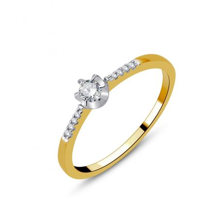 Solitaire accompagné or 750/000 diamant 0,13cts