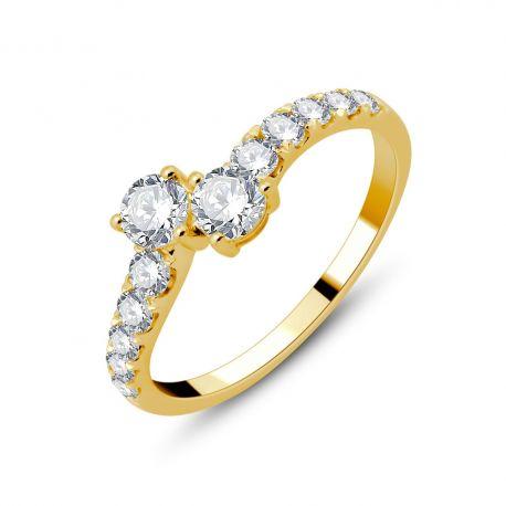 Bague Toi et Moi or 750/000 et diamants 0,40cts