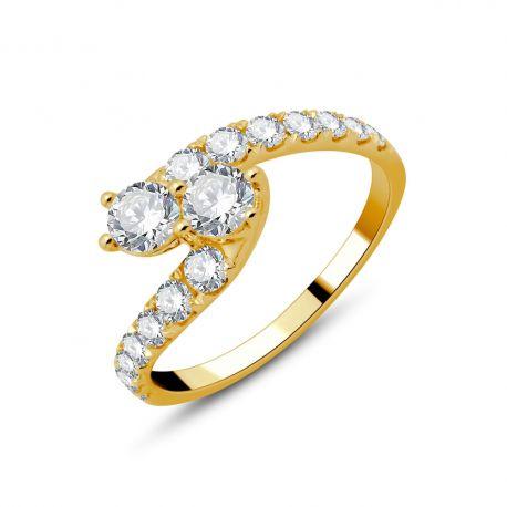 Bague Toi et Moi or 750/000 et diamants 1ct