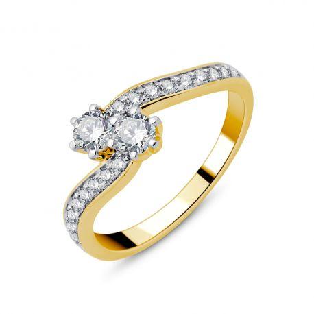 Bague Toi et Moi or 750/000 et diamants 0,51cts