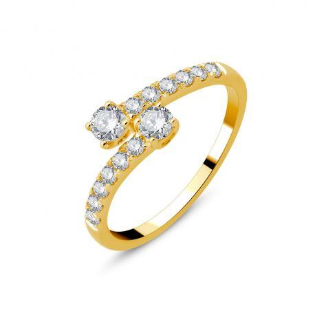 Bague Toi et Moi or 750/000 et diamants 0,50cts