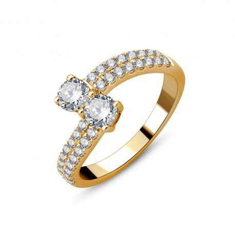 """Solitaire accompagné """"Toi et Moi"""" or 750/000 et diamants"""