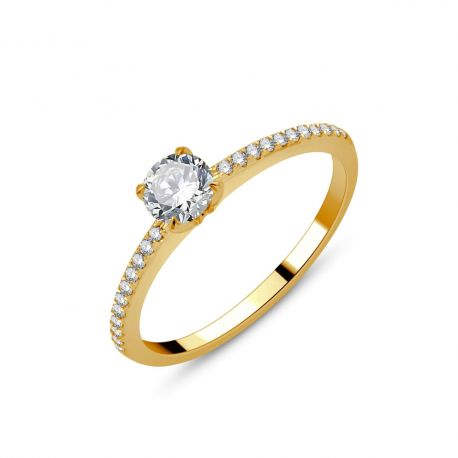 Solitaire accompagné or 750/000 -diamants 0,49ct