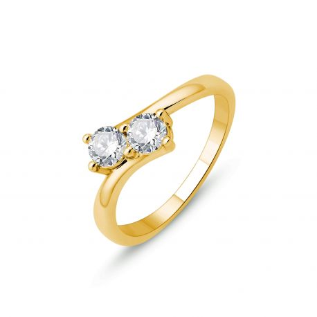 Solitaire duo diamants or 750/000 - 0,54cts
