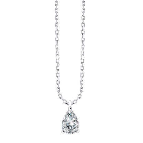 Collier diamant poire 3 griffes - 0,50 ct