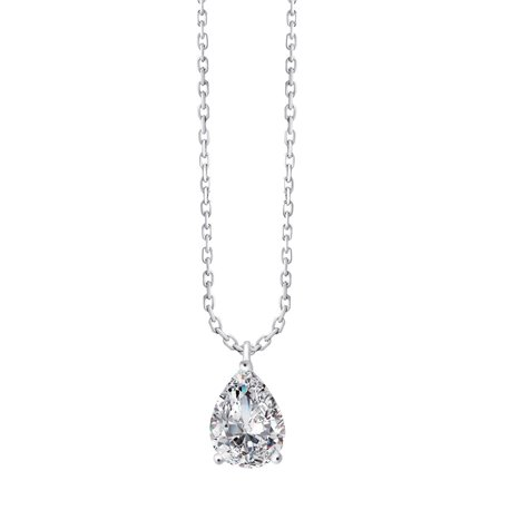 Collier diamant poire 3 griffes - 1 ct
