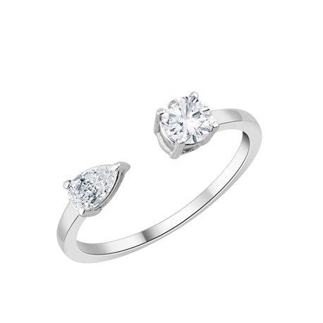Bague toi et moi diamant 3 griffes – 0,60 ct