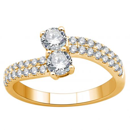 Toi et moi or 750/000 - diamants - 1ct