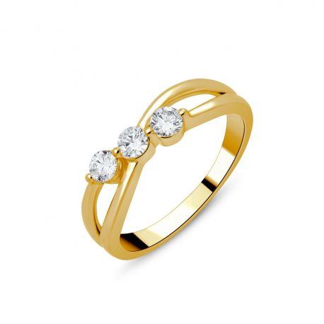 Bague Trilogie or 750/000 - diamants 0,35ct