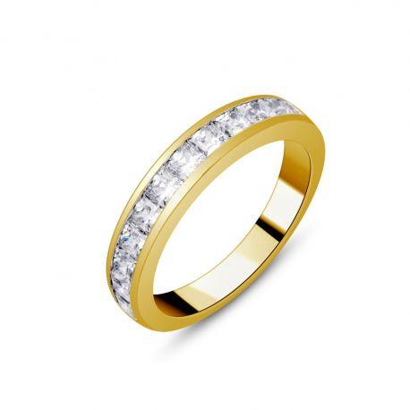 Demi-alliance or 750/000 - diamants princesse 1ct