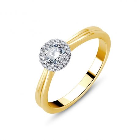 Solitaire entourage diamants or 750/000