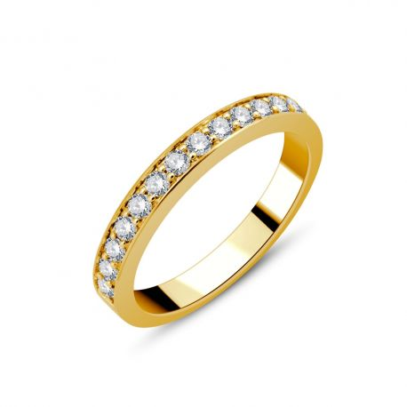 Demi-alliance or 750/000 - diamants 0,37ct