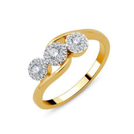 Bague Trilogie entourage diamants or 750/000