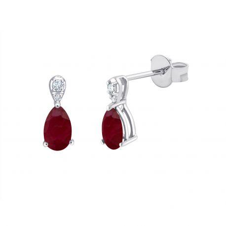 Boucles d'oreilles Emmy Rubis et diamants