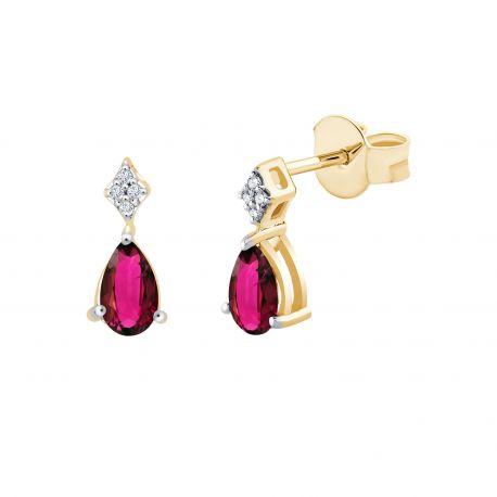 Boucles d'oreilles Georgie Rubis et diamants