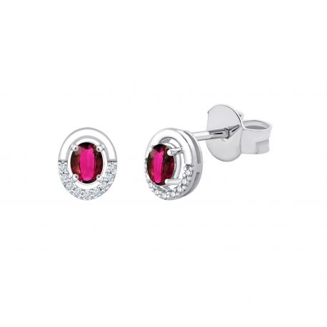 Boucles d'oreilles Leia Rubis et diamants