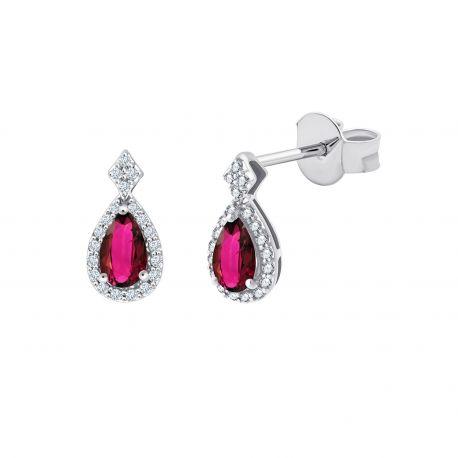 Boucles d'oreilles Shae Rubis et diamants