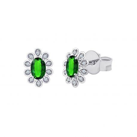 Boucles d'oreilles Sybil Emeraudes et diamants