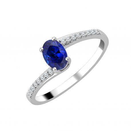 Bague Della Saphir et diamants